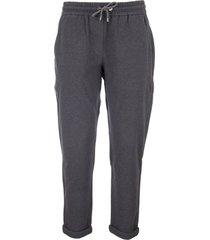 brunello cucinelli cotton fleece trousers with monile