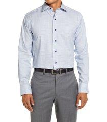 men's big & tall david donahue trim fit dress shirt, size 18 - 36/37 - blue