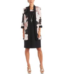 r & m richards plus size 2-pc. printed jacket & necklace dress set