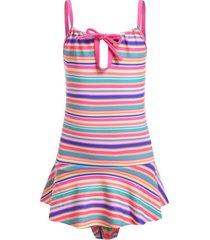 striped peplum flounce tie girls one-piece swimsuit