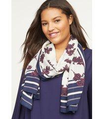lane bryant women's floral border scarf onesz chic pink