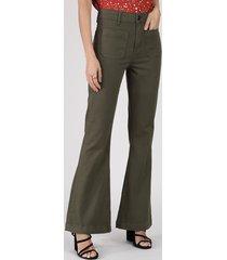 calça de sarja feminina flare cintura média verde militar