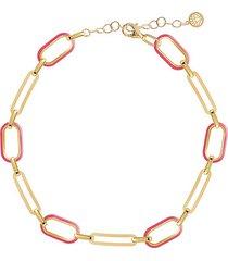 14k gold vermeil & fuchsia enamel soft serve oval-link anklet