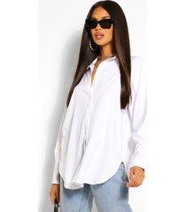 katoenmix oversized blouse met knopen, wit