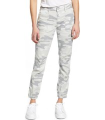 women's mavi jeans ivy grey camo stretch cotton utility pants, size 32 - grey