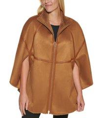 calvin klein faux-suede cape coat