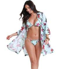 camisão com botão flora - estampa flora - feminino - feminino
