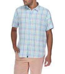 camisa lino hombre linenplaid multicolor rockford