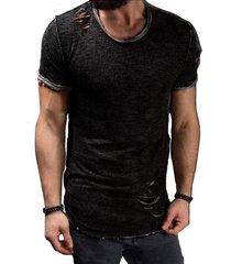 verano de algodón camiseta de los hombres de la moda del agujero de-negro