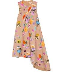arya print sleeveless dress in khaki multi