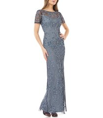 women's js collections sequin embroidered column gown, size 2 - blue