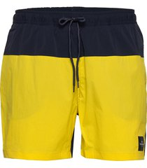 m swim shorts blocked zwemshorts geel peak performance