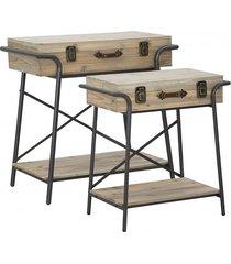 stolik kawowy 2 szt. konsola walizki metal wood