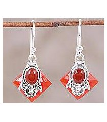 carnelian dangle earrings, 'kolkata scarlet' (india)