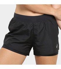 short asics core running shorts 2in1 3in feminino
