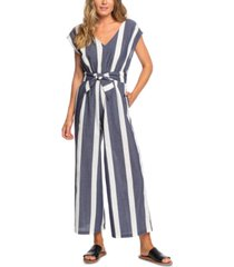 roxy juniors' same old blues cotton striped jumpsuit