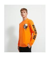 camiseta manga longa meia malha estampa blink 182 | blink 182 | laranja | pp