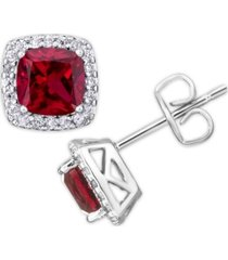 simulated birthstone cushion cubic zirconia halo solitaire stud earrings in fine silver plate