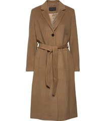 coats woven wollen jas lange jas bruin esprit collection