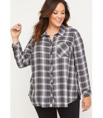 terrace plaid buttonfront top