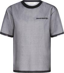 alexander mcqueen logo silk tulle doubled t-shirt