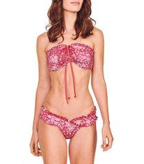 loveshackfancy women's jewel two-piece floral bikini set - sunset pink - size s
