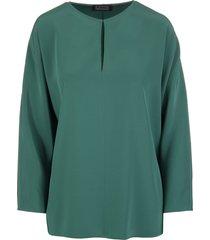 pine green keyhole long-sleeved satin blouse