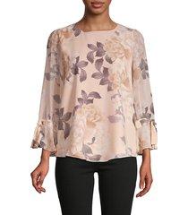 calvin klein women's floral blouse - blush combo - size s
