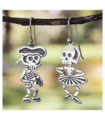 sterling silver dangle earrings, 'skeletal matador dance' (mexico)