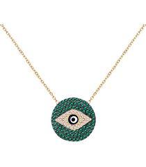 22k gold vermeil, white & green crystal evil eye protection pendant necklace