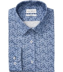 lucky brand men's slim-fit performance stretch tonal blue palm print dress shirt