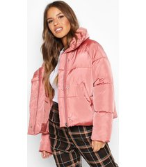 petite cropped front pocket padded jacket, rose dust