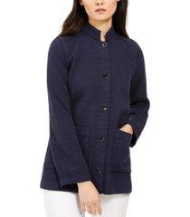 eileen fisher cotton stand-collar button-up jacket