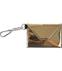 woman golden card holder with black logo and internal mirror