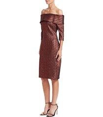 teri jon women's metallic off-the-shoulder dress - wine - size 8