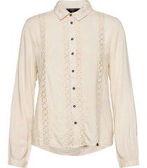 amelie lace shirt långärmad skjorta creme superdry