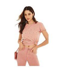 t-shirt morena rosa decote redondo bordado industrial rosa