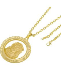 kit medalha face de cristo com corrente tudo jóias cartier diamantada folheado a ouro 18k