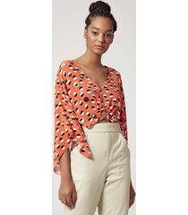 blusa estampada decote profundo detalhe argola bordada est pois picasso laranja