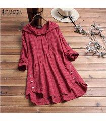 zanzea mujeres tela escocesa comprobar largo ocasional top de la camisa de la blusa asimétrica sudaderas con capucha plus -rojo