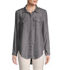 jak & rae women's classic high-low button-down shirt - shadow - size xs