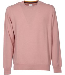 pink crew-neck pullover with multicolor detail