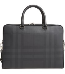 men's burberry ainsworth london check coated canvas & leather briefcase - grey