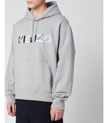 kenzo men's multicolour logo hoodie - pearl grey - xxl