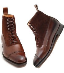 handmade men's brown ankle high boots, party dress boot ankle lace up boot