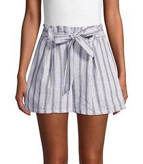 striped linen & cotton-blend shorts