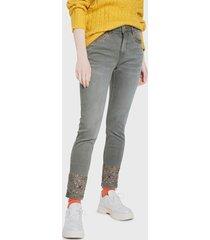 jeans desigual denim trousers arty 1 gris - calce ajustado