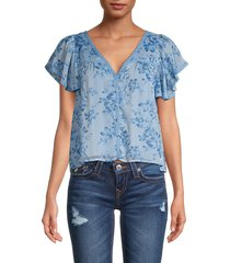 allison new york women's floral flutter-sleeve blouse - blue floral - size xs