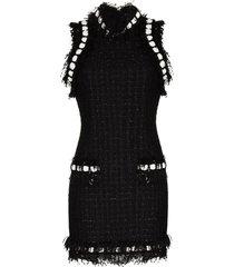 balmain sequin tweed mini dress - black