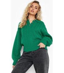 grof gebreide trui met knopen en kraag, dark green